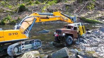 RC Tuck Accident In The River! Cool RC Rescue Action With Heavy Machines! R970 Digger In Action!