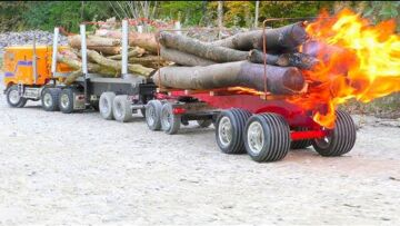 RC Fire Trucks! Big fire on the wooden trailer! Fantastic RC vehicles!
