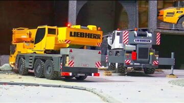 AMAZING RC CRANE TRUCKS LTM 1055 AND THE STRONG LRT 1100-2.1! LCM 3 LANDING CRAFT IN DRY DOCK