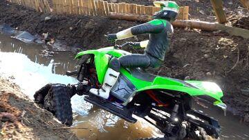 RC ADVENTURES – FIRST RUN: TRAXXAS TRX4 w/ NEW TRACKS on Backyard Trail Course (ATV / QUAD Kawasaki)