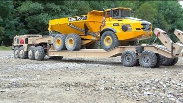 VOLVO A45G IN DANGER! BIGGEST RC CONSTRUCTION SITE! PIP-MAZ 537 RC! T-247 TRAILER! HEAVY RC VEHICLES