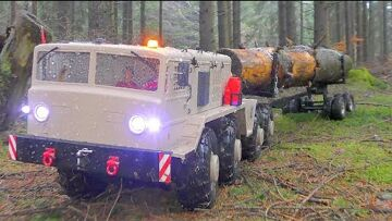RC TRUCKS WORK IN THE WOODS! STRONG HC6! HEAVY MAZ 537G IN ACTION! BEST RC IN MUD! BEST RC 2019