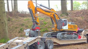WORL OF RC EXTREME! MAZ 537G IN DEEP WATER! HEAVY LIEBHERR R970 TRANSPORTATION! RC WOODCUTTER DIGGER