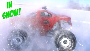 "NIGHT DRIVING in SNOW w/ a LED LIGHT BAR – 49cc PRIMAL RAMINATOR ""TOY"" MEGA TRUCK | RC ADVENTURES"