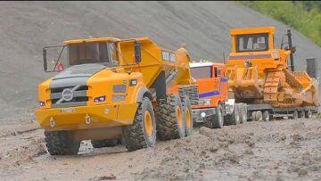 RC VOLVO DUMP TRUCK A45G! HEAVY D9 BULLDOZER! WORLD OF RC! MUDDI RC CONSTRUCTION SITE
