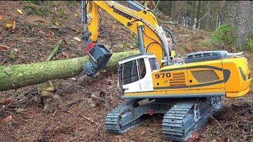RC LIEBHERR EXCAVATOR R970 SME FALLS A TREE! MAZ 537 RC HAND WORK! MAN KAT1 EXTREME! BEST RC TOYS