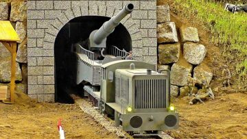 LARGEST RC TANK GERMAN RAILGUN GIGANTIC RC K5 LEOPOLD RAILWAY GUN MILITARY VEHICLE TRAIN GESCHÜTZ