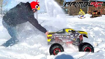 """MAN in ANGRY BIRDS HAT DRIVES """"ToY"""" 49cc GAS POWERED MONSTER TRUCK – PRIMAL MT 1:5   RC ADVENTURES"""