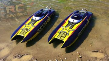 RC ADVENTURES – UNBOXiNG 2 ROCKSTAR 48-inch Catamaran Gas Powered Boats & First Race