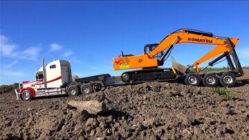 RC AVONTUREN – Semi pulling Earth Digger 4200XL Excavator