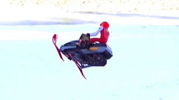 RC ADVENTURES – Snapped in Half on a Hill Jump – Electric Snow Mobiles (Radio Controlled)