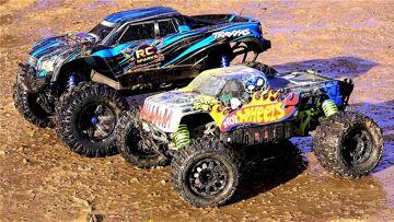 RC ADVENTURES – TRAXXAS X-MAXX vs HPi SAVAGE FLUX XL HOT WHEELS 4×4 Monster Truck Madness