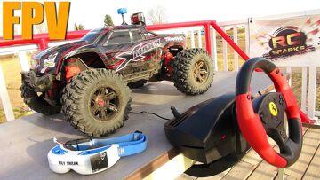 RC ADVENTURES – FPV TRAXXAS XMAXX & STEERiNG WHEEL RACE MOD for RC!