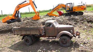 Heavy Load Tips Truck – 1948 KR11 International Harvester Loaded by EXCAVATOR!  | RC ADVENTURES