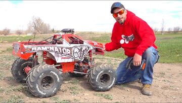 """HUGE """"TOY"""" TRUCK gets a PROPER BEATiNG! 49cc GAS POWERED PRiMAL RC RAMiNATOR MT 