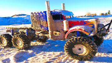 RC ADVENTURES – OPTiMUS OVERKiLL 6x6x6 SEMi TRUCK CHEWS the iCY SNOWFALL – 6S, 22 Volts of POWER!