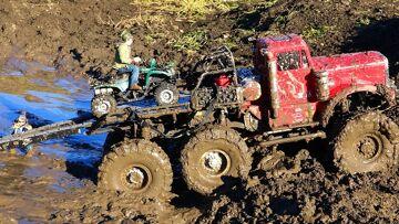 RC ПРИКЛЮЧЕНИЯ – ATV, используемый в Muddy Escape – 6×6 RC Truck gets Stuck