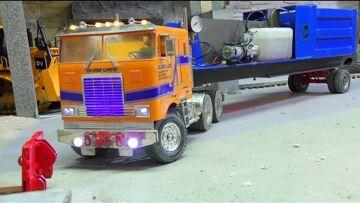 Heavy Hydraulic Press Transport! Strong RC Vehicles at Work! Tamiya Globe Liner 6×6