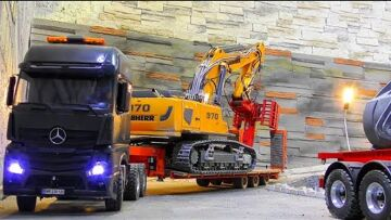 RC LIEBHERR 970 WITH WOODCUTTER! SPECIAL RC STUFF FOR THE LIEBHERR DIGGER! COOL RC TRANSPORT