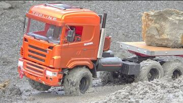HEAVY STONE BLOKS LOAD! 40t STONES FOR THE SCANIA 6X6! MAZ 537 RC MUST HELP! MUDDI RC MODELS