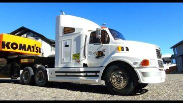 RC ADVENTURES – Ford AeroMax 1/14th 6X4 Semi Truck hauling Excavator on Trailer