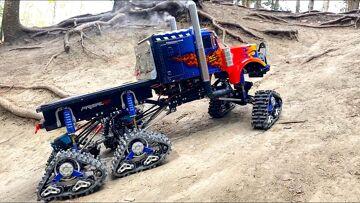 "Optimus ""PRIME-TIME"" OVERKILL 6x6x6 SEMI TRUCK auf TRACKS in DiRT! | RC ADVENTURES"