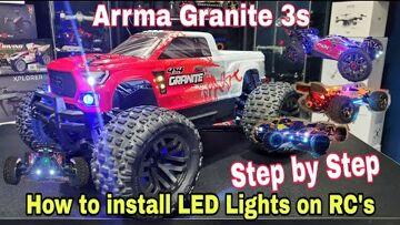 Arrma Granite 4×4 3s V3 (How to install LED Lights on RC Cars / Trucks) Step by Step