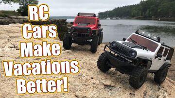 Vacation Fun! RC Car Crawling On A Rocky Beach | Πρόγραμμα οδήγησης RC
