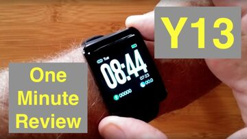 MAXTOP Y13 Large Display Blood Pressure Fitness Smartwatch includes extra Band: One Minute Overview
